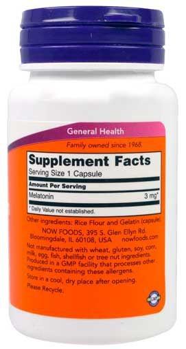 Melatonina 3mg Now Foods 60 cápsulas