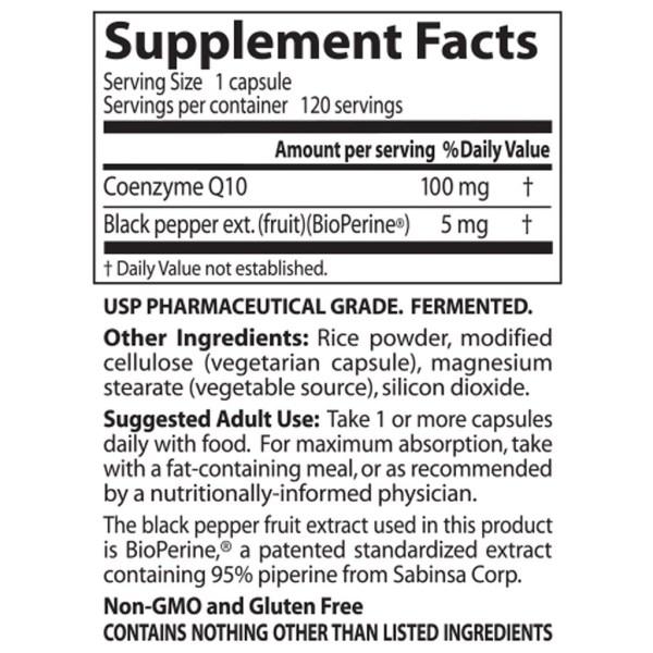 CoQ10 (Coenzima Q10) 100 mg com BioPerine Doctor's BEST 120 Cápsulas vegetarianas
