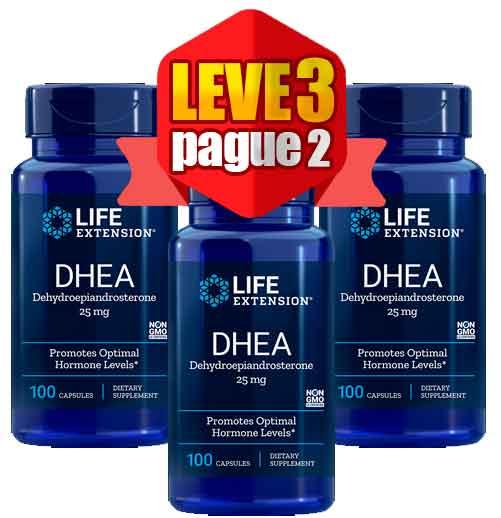 3X Dhea Life Extension 25mg, 100 Capsulas – 3 Frascos