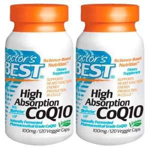 CoQ10 (Coenzima Q10) 100 mg com BioPerine Doctor's BEST 120 Cápsulas vegetarianas – Leve 2 Frascos