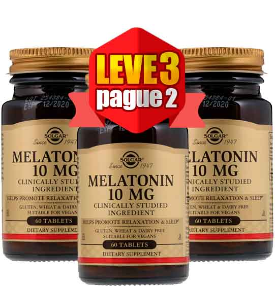 3X Melatonina 10 mg Solgar 60 Comprimidos, Total de 180 Comprimidos