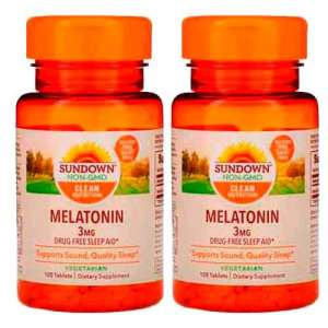 Melatonina 3mg Sundown Naturals, 120 comprimidos ( vegetariana ) – Leve 2 Frascos