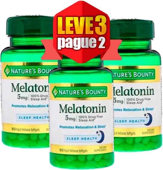 Melatonina 5mg Natures Bounty 90 Cápsulas 3 Frascos