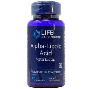 Life Extension Ácido Alfa-Lipóico com Biotina - 60 Cápsulas