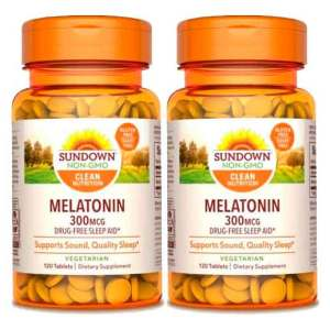 Melatonina 300mcg Sundown Naturals, 120 comprimidos ( vegetariana ) – Leve 2 Frascos