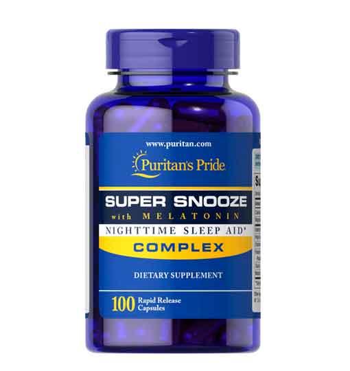 Melatonina Super Snooze 5 mg, 100 Cápsulas Rápida Liberação – Leve 1 Frasco