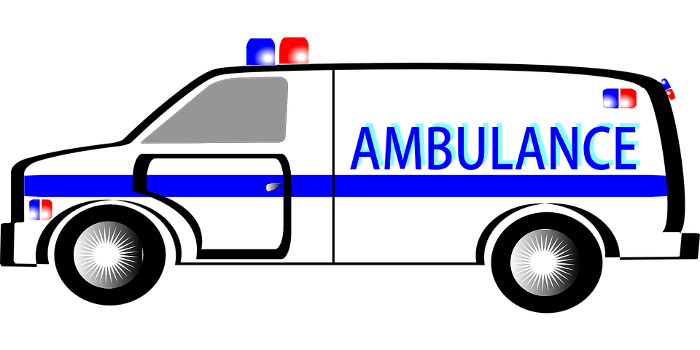 Ambulance Blue and White Trans