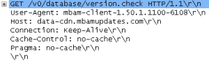 Image showing the check.version packet in more detail in Wireshark