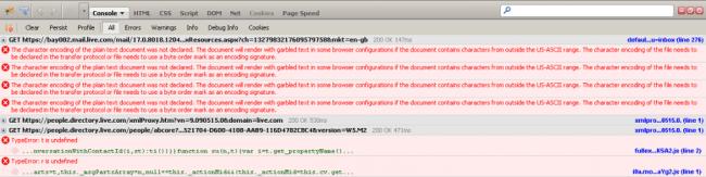 Firebug Outlook console errors