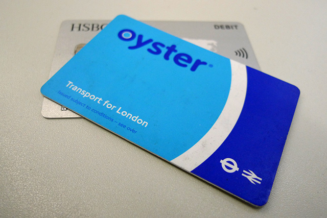 Oyster Card and Contactless Bank Card with RFID symbol. Source: londonist.com