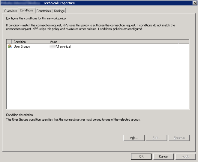 Network Policy - Conditions Tab