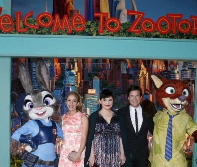 Cast Members Shakira L Ginnifer Goodwin And Jason Bateman Who Give Voices To The Characters Of Gazelle Judy Hopps And Nick Wilde Pose At The Premiere