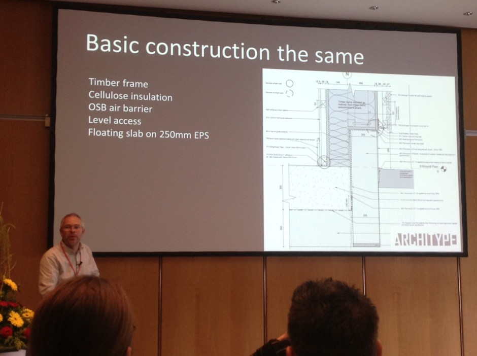 Nick Grant presenting improved passivhaus design for schools