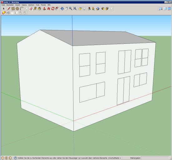 The volume of the thermal envelope of one of the two passive houses of Cavriago, Italy, during the DesignPH 3D modeling.