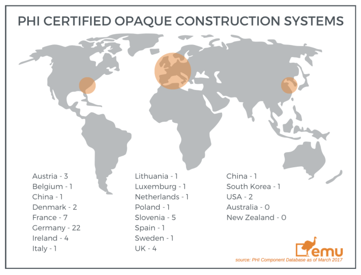 PHI certified opaque construction systems - map