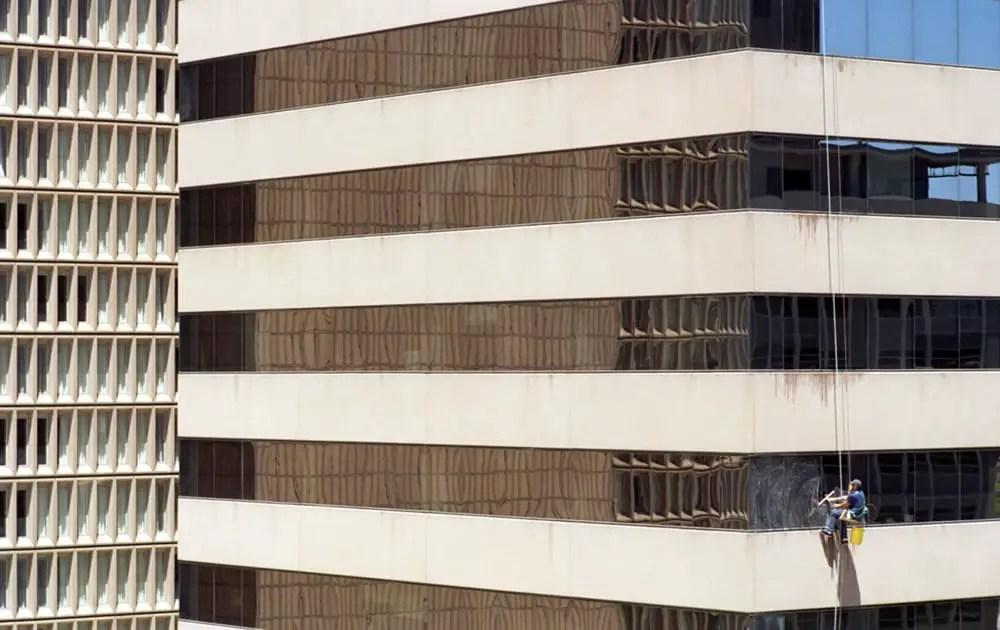 Lone Window Washer - Denver - Nikon F2, Nikkor 105mm f/2.5 AI-s, Kodak Ektar 100