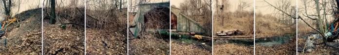 East portal, East side railroad tunnel. 1998. 120 Ektachrome cross processed as color negative. Crown Graphic camera.