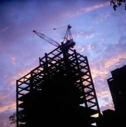 Sunset: under construction / Fuji Velvia 100 (RVP) / ISO200 / 120 / 6x6 / 1-stop push process.