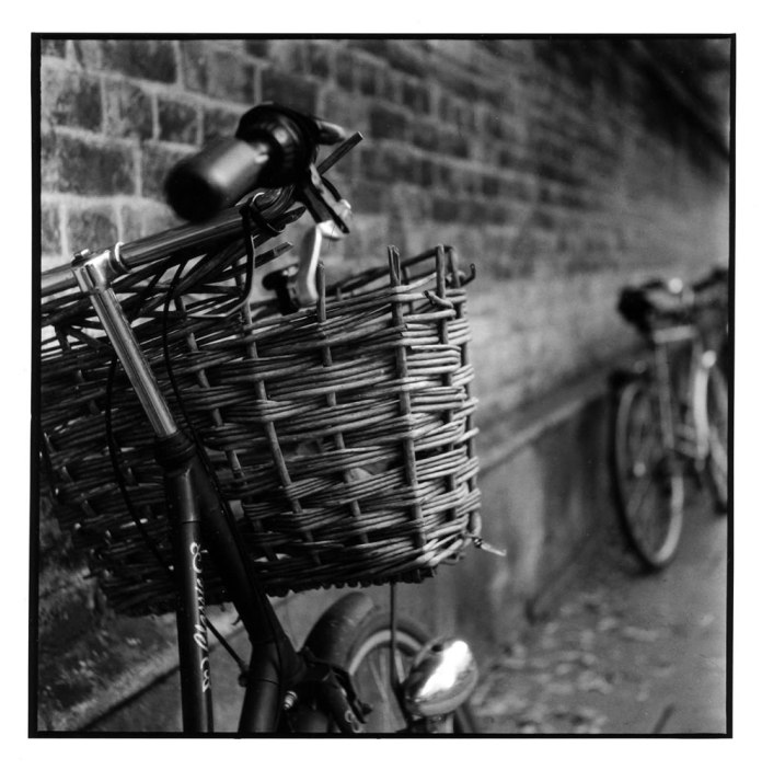 Bicycle - Cambridge - Darkroom print made on Ilford MGFB from a Delta 3200 negative shot in a Yashica A Camera