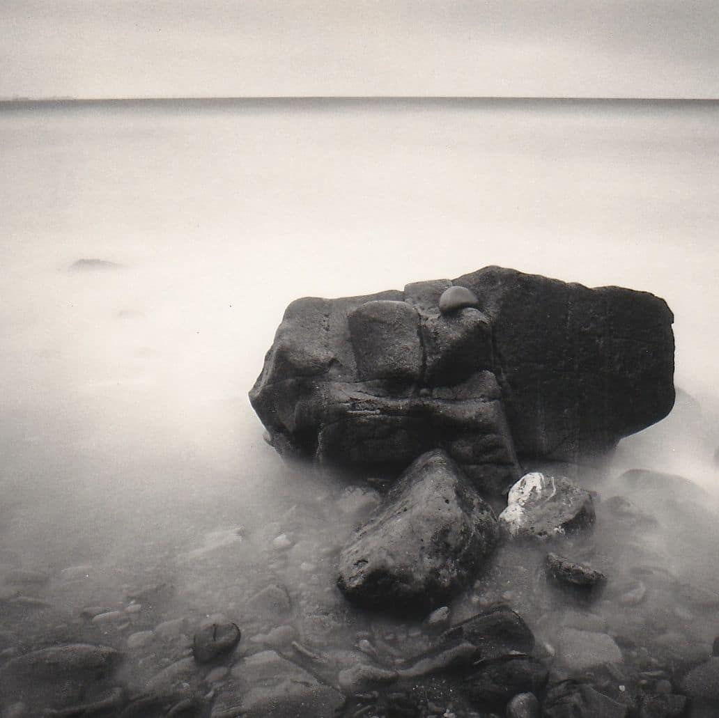 Druidstone - 20mm lens, 180sec exposure, ND10 filter, Ilford FP4.