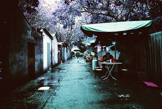 Lunch - Lomochrome Purple XR 100-400 shot at ISO 400. Color negative film in 35mm format.