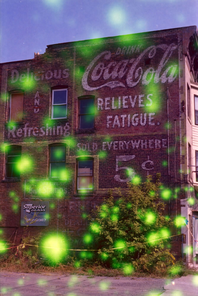 Coca-Cola ghost sign - Nikon EM camera, Vivitar 19mm f/3.8 lens, Revolog Volvox film.