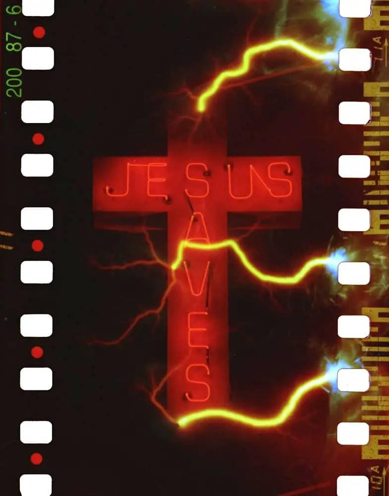 Jesus Saves - Shot with Nikon F100 camera, Nikkor 50-300mm f/4.5 lens, Revolog Tesla 2 film, f/8, 1:20