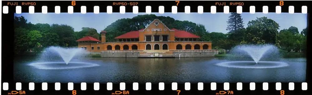 Washington Park Lakehouse - FT-2 camera, Fuji Velvia 50 film.