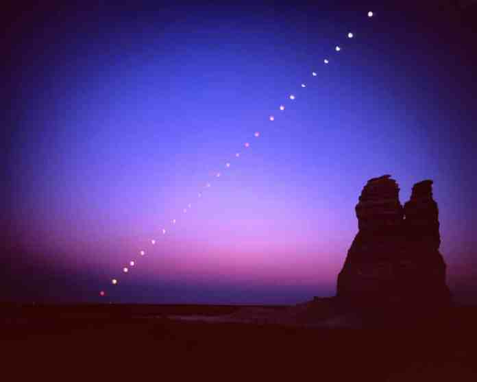 Lunar eclipse at Castle Rock. Fuji Velvia 4x5 - 150mm lens - 1 sheet, 26 exposures