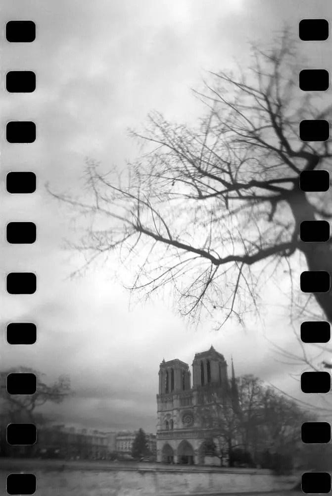 """Notre Dame, Paris,"" Lomo 360 Spinner camera, Ilford HP5+ film"