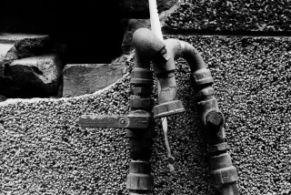 Pipes - Kodak Hawkeye Traffic Surveillance Black and White Film 2485 shot at EI 800. Black and white negative film in 35mm format. Push processed one-stop.