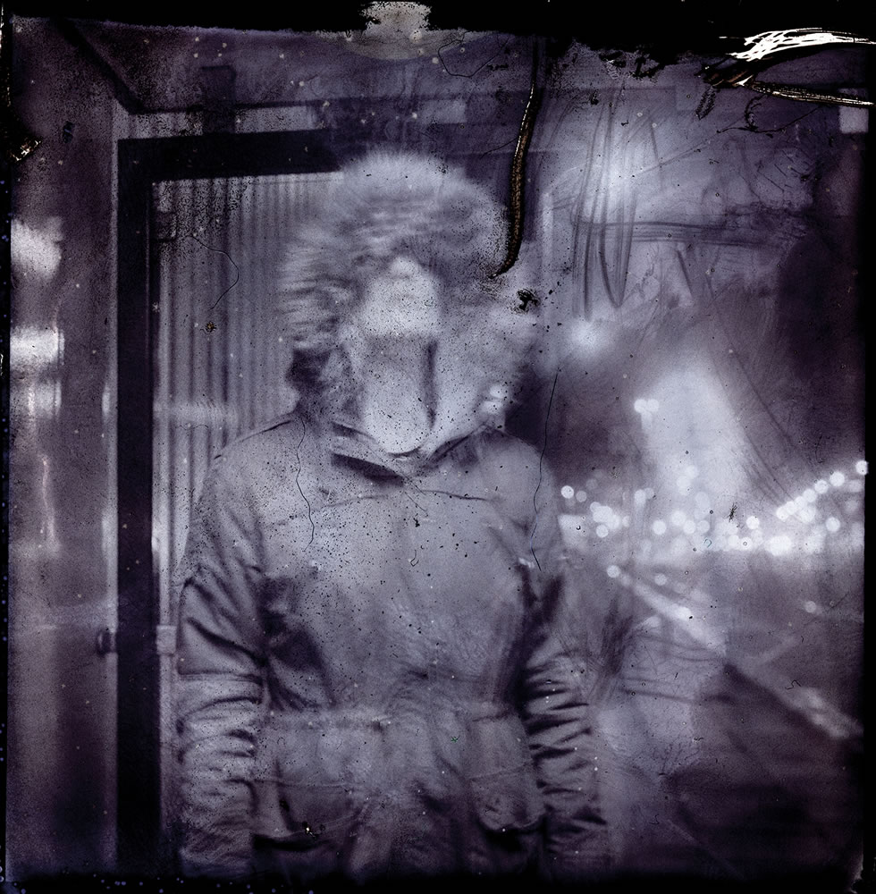 Nightcall - SX-70 B&W film negative