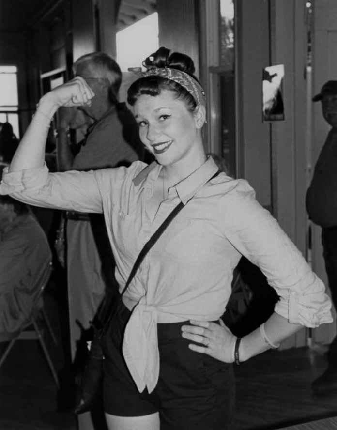 Rosie the Riveter, iconic woman defense plant worker, 7/14, Tri-X in HC110 Dilution H