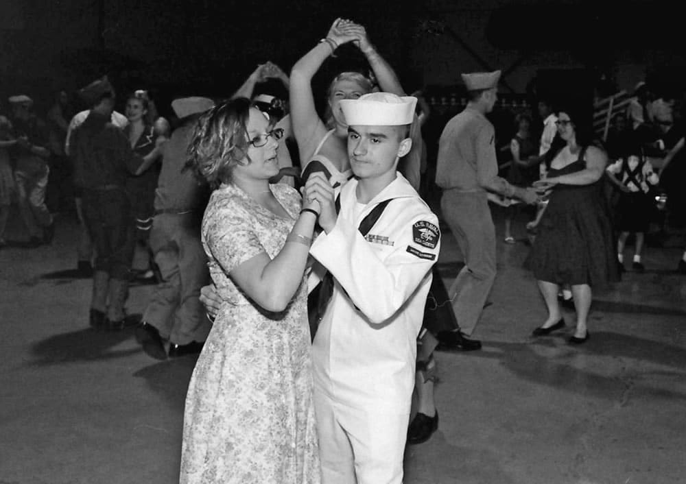 Sailor and date at post-reenactment dance, 6/15, HP5 in HC110 Dilution H