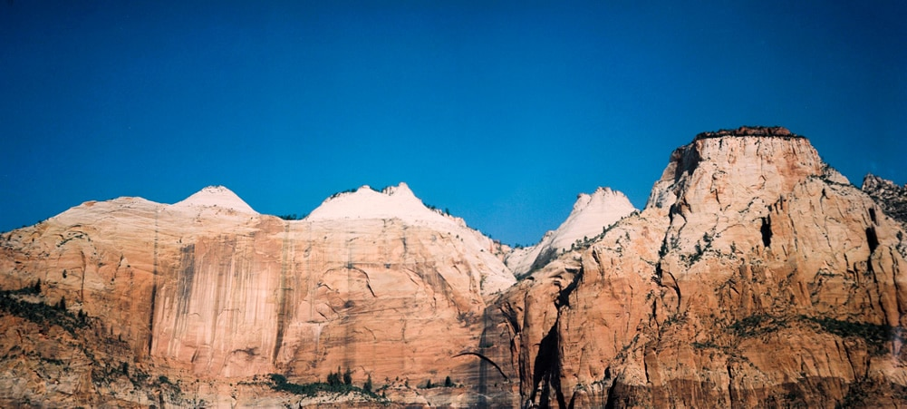 Zion #01 - Kodak Vericolor 160 VPS 6006 shot at EI 100. Color negative film in 120 format shot as 6x12. Graflex Speed Graphic. Kodak Aero Ektar 178/2.5. 6x12 film back.