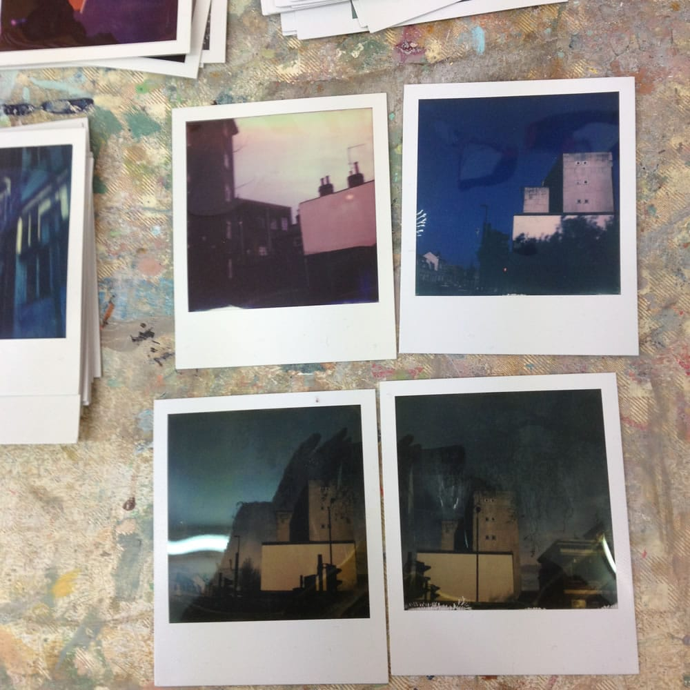 Work in progress - Four Polaroids (before). Polaroid SX70 Land Camera Alpha, Impossible instant color film