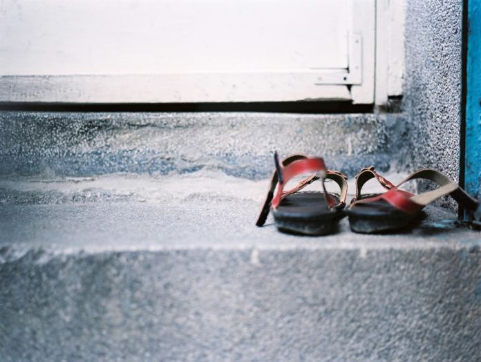 Shoes off at the door please - Fuji Pro 400H shot at EI 400. Color negative film in 120 format shot as 6x4.5. 2x Teleconverter.