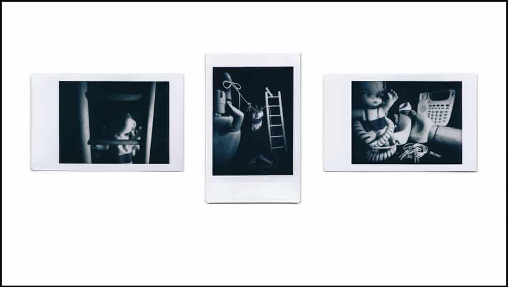 Photographer: Ross, Togashi Award:Best use of a non-native Instax camera Title: FIlm noir: a pinhole triptych Location: Honolulu, Hawai'i, USA Camera: Self-made pinhole camera, using Lomography Diana Instant Film Back and Debonair toy camera