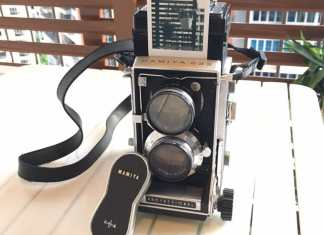 TheMamiya C33 with one of the Instax Mini Monochrome sheets it produced!