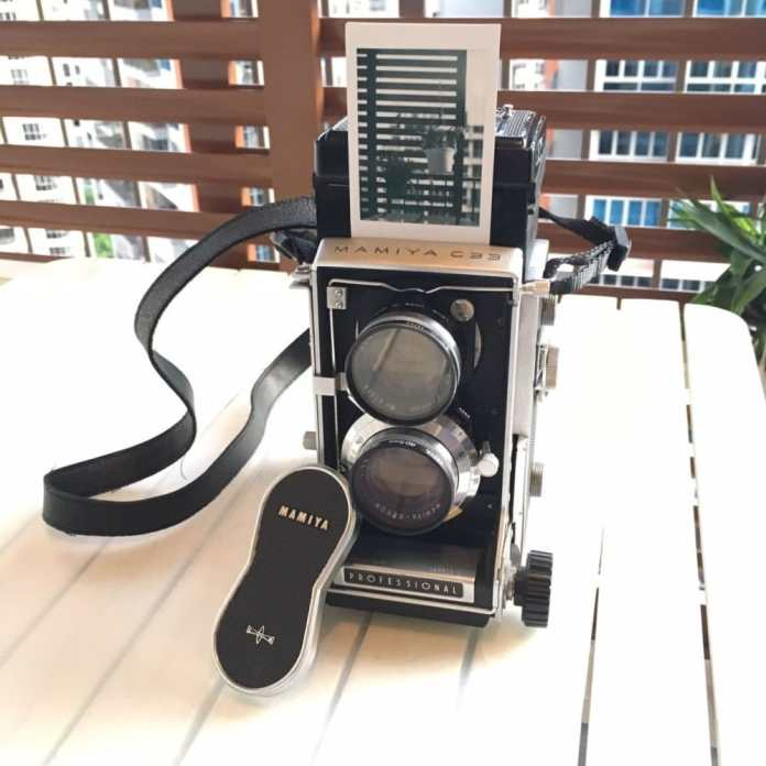 The Mamiya C33 with one of the Instax Mini Monochrome sheets it produced!