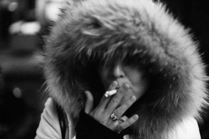 """Michelle, Smoking"" (NYC 2005) - Voigtlander VSL3-E with Voigtlander Colour-Ultron 55mm f/1.4 lens and Ilford Delta 3200 35mm film"