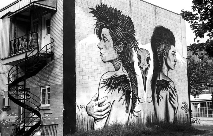 Graffiti Girls - Graffiti in Montreal's Saint-Henri neighborhood. Canon AE-1, ILFORD FP4+