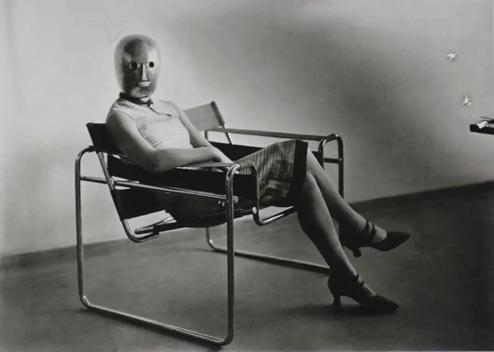 Bauhaus Scene (Lis Beyer or Ise Gropius in a tubular steel chair by Marcel Breuer), photo: Erich Consemüller, 1926. Klassik Stiftung Weimar / Collection of Wulf Herzogenrath / © Stephan Consemüller. Source: https://www.bauhaus100.de/en/past/people/students/erich-consemueller/index.html