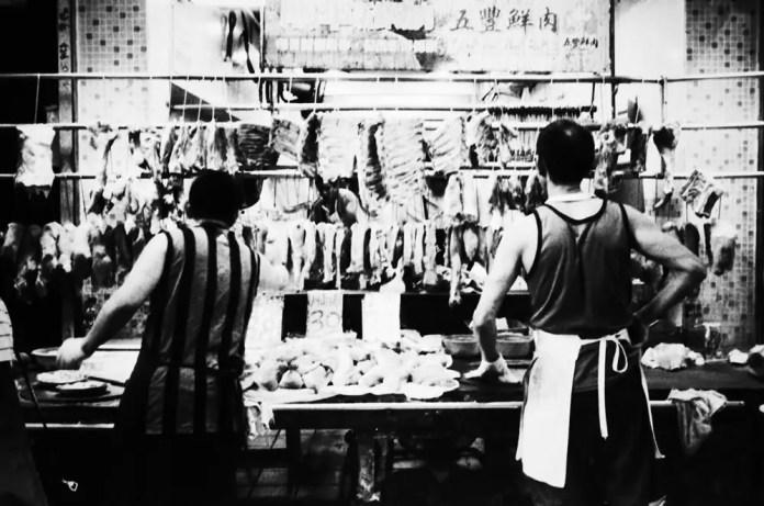 Meat, Hong Kong 2016, photo on film, Olympus Mju II, digital black and white