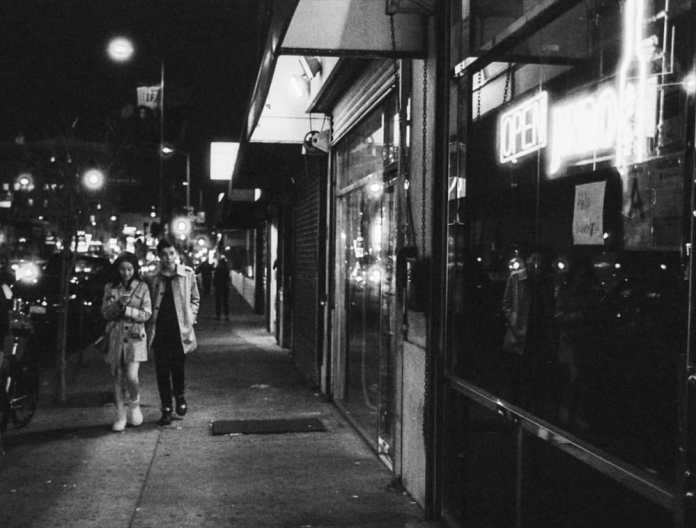Date Night, Western Ave - Walking home on Western Ave. Kodak T-MAX 400, Canon Elan 7NE