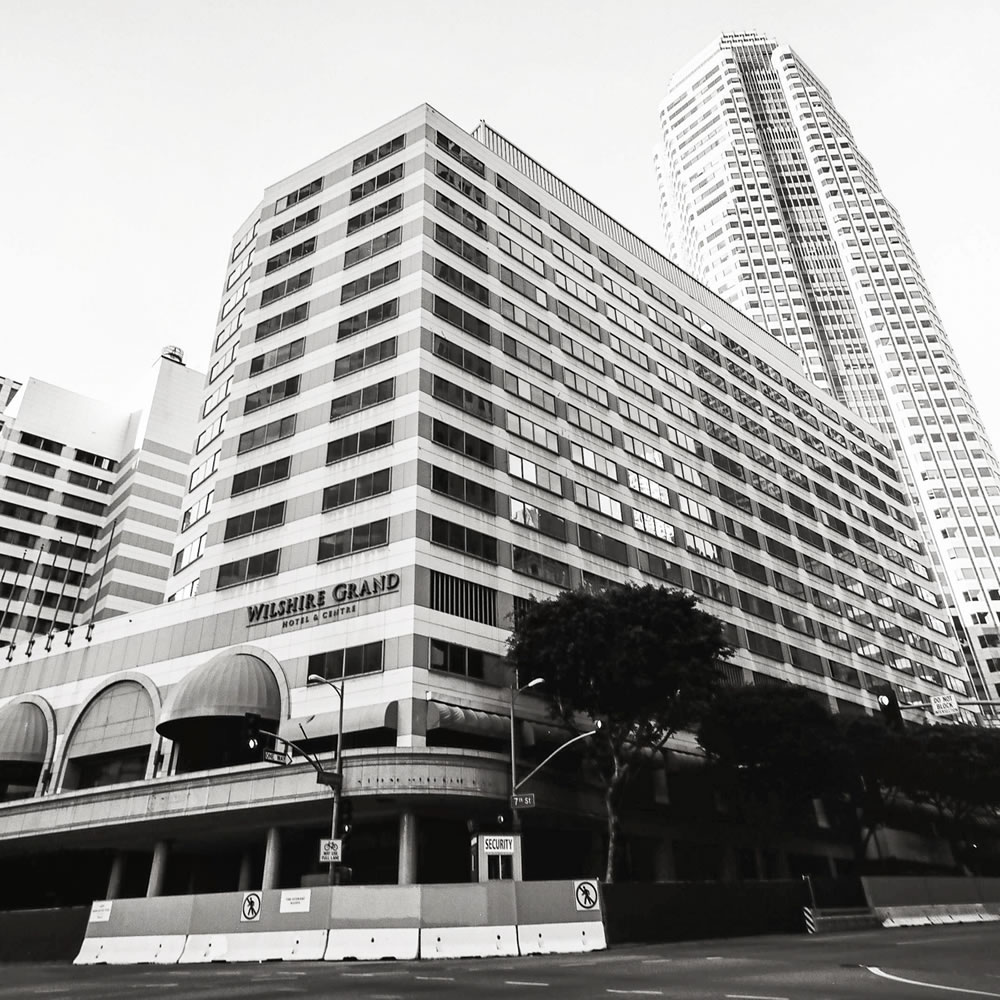 Wilshire Grand - The Wilshire Grand Hotel just before it was to be demolished, making way for the newly-completed Intercontinental Hotel. Hasselblad 500C, Fujifilm Acros 100