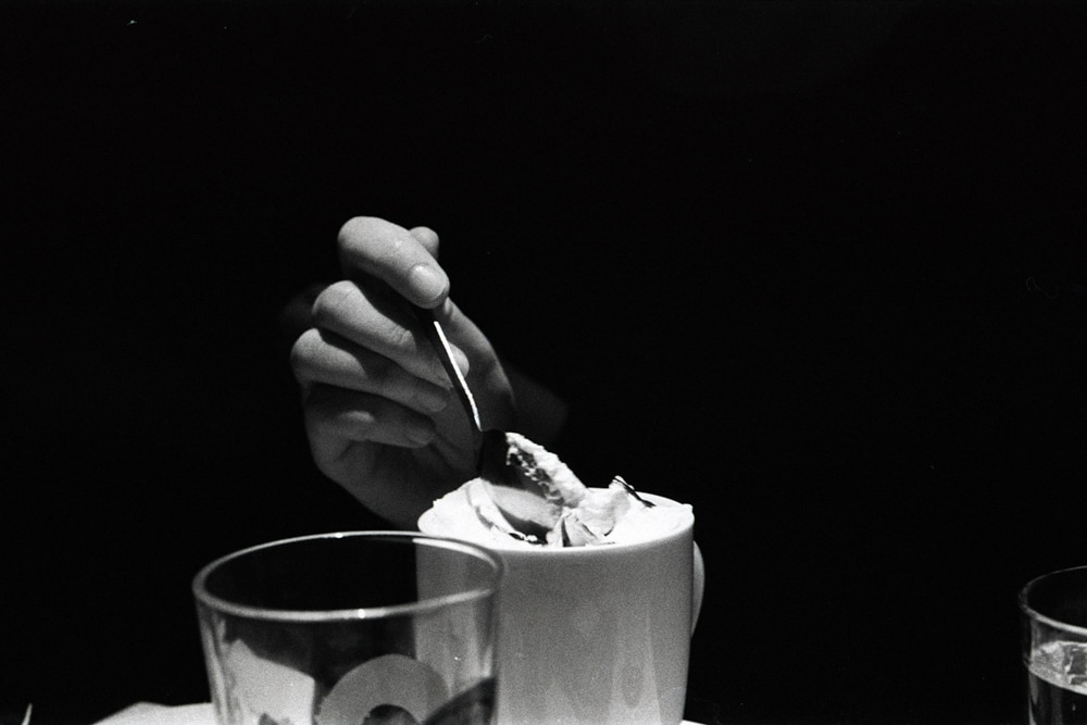 Coffee and whipped cream... with a lil' conversation - Praktica MTL 5B + Pentacon 50mm f/1.8 + Fomapan 400 @ 800 (developed in Rodinal)