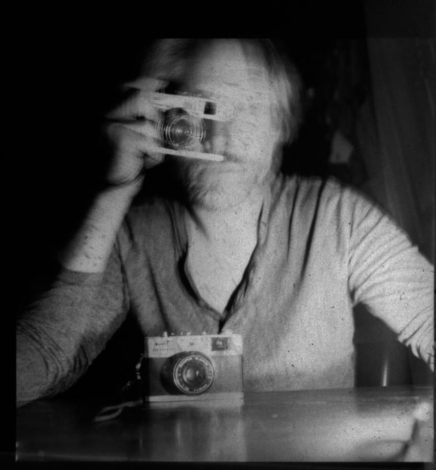 Double Exposure Self Portrait With Olympus 35RC - October 2017. Hasselblad 500C with Agfa MCRC paper. Two bursts of four full power flashes from a Nikon SB800.