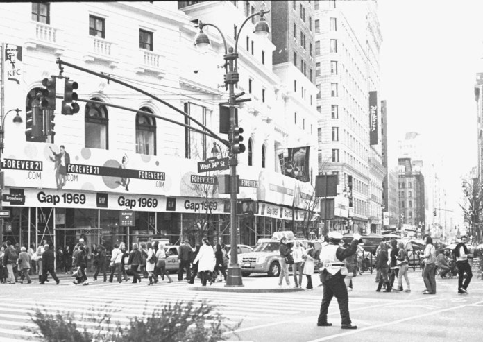 1969 & 34th Street in the 21st Century. Photographed with my Minolta Hi-Matic & on Fuji, small-format, 135 film, 800 speed. Midtown, Manhattan, New York. I pushed this film up 2 stops.