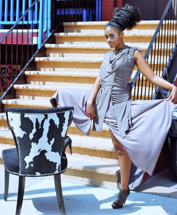 Fashion Class - Photographed on Kodak, 160 Portia, medium-format film with my Mamiya RB67. Harlem, New York. This frame is from a fashion line (TATA from Tatajana Tatalovic) photographic session with the actress & model, Nefessa Williams.